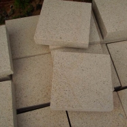 G682 Sunset Yellow Granite Cube Stone Top Surface Bush Hammered Other Side Saw Cut  (CS017)
