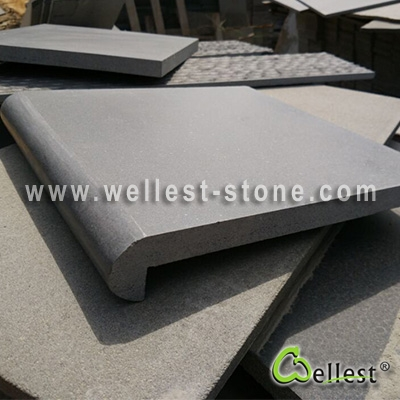 Grey Basalt Swimming Pool Copping Tile Honed Finish With Bullnose Edge - Bullnose tiles for pools