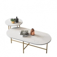 M821 Calacatte White Marble Round Coffee/Tea/ Restaurant Table 4